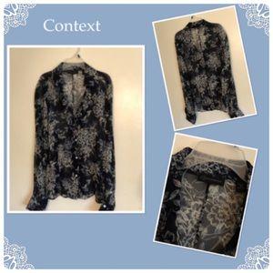 Women's Long Sleeve Sheer Silk Blouse
